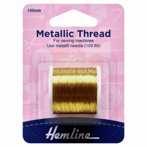 Hemline Metallic Thread Gold