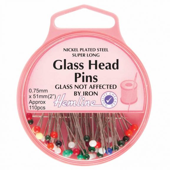 Hemline glass head pins