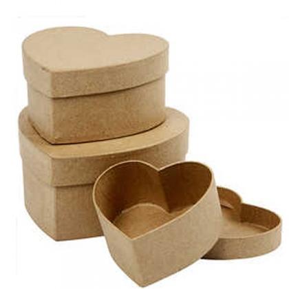 3 heart paper mache boxes
