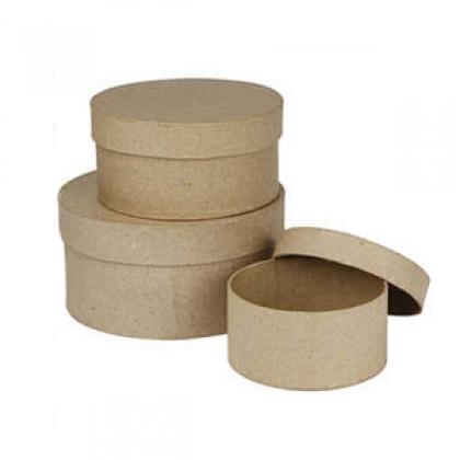 3 round paper mache boxes