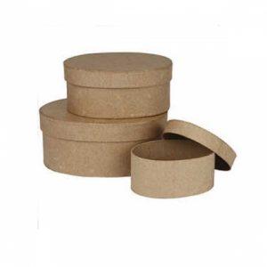 3 oval paper mache boxes