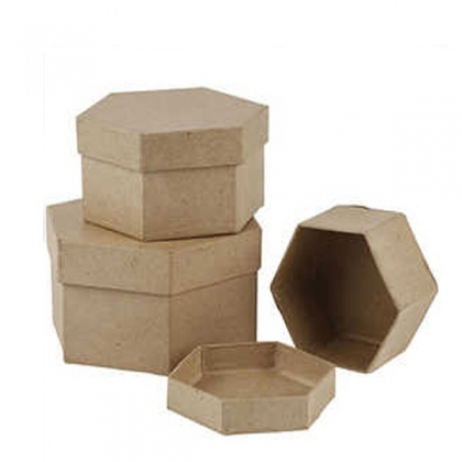 3 hexagonal paper mache boxes