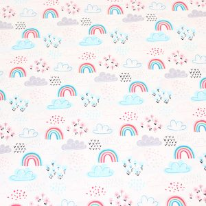 Up up and away rainbow fabric