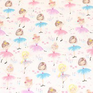 White ballerina print fabric