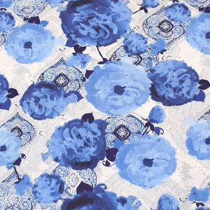 Blue Floral on Moroccan fabric