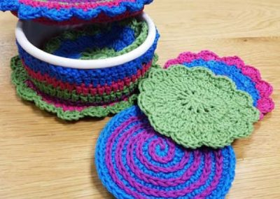 Crochet Coasters & Basket
