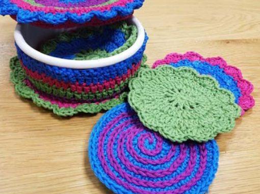 Crochet Coasters & Basket