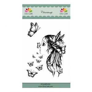 Girl & Butterflies Stamp