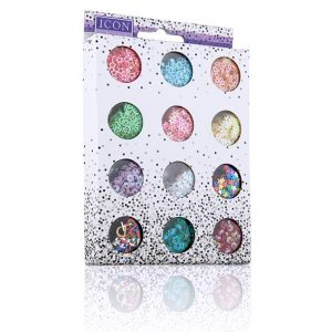12 Pots of Glitter Shapes