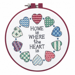 Stamped Cross Stitch Kit with Hoop: Home and Heart