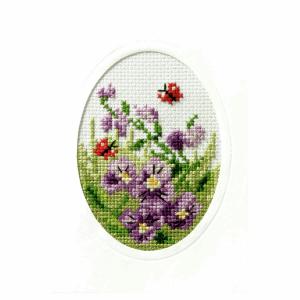 Cross Stitch Card: Pansies