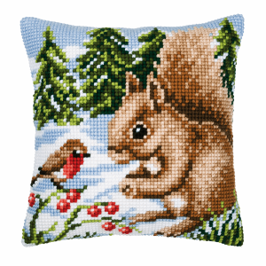 Cross Stitch Kit: Cushion: Squirrel In The Snow