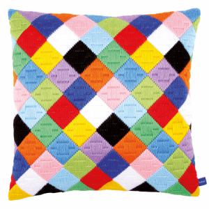 Long Stitch Cushion Kit Colourful Diamonds