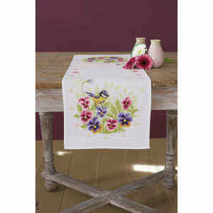 Cross Stitch Kit: Runner: Birds & Violets