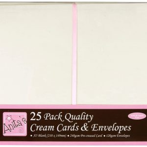 25 A5 Cream Cards and Envelopes 148x210mm