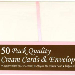 50 Square Cream Cards And Envelopes