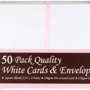 50 Square White Cards and Envelopes 135x135mm