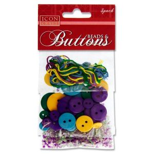 Icon Craft 3 Pack Beads, Buttons & Threads Purple