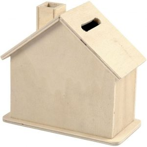 Wood House Money Box