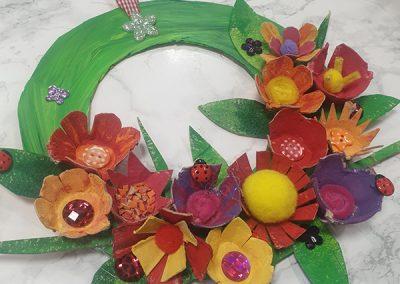 Egg Carton Flower Wreath