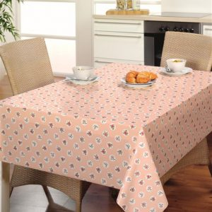 Oilcloth - Peach With White Dots And Peach Flowers
