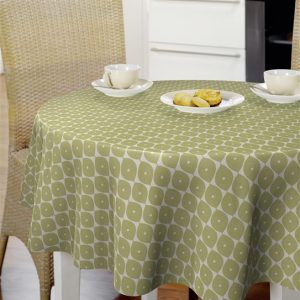 Oilcloth - White With Green Circles