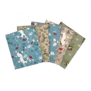 Christmas Hare and Robin Fat Quarters