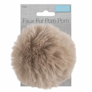 Faux Fur Pompom Natural