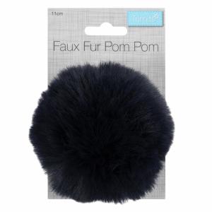 Faux Fur Pompom Navy
